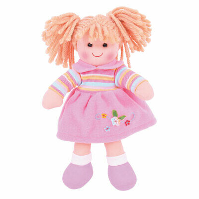 "Bigjigs Toys Jenny Doll 28cm (11"") Ragdoll Cuddly Toy Traditional Gift"