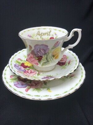 British Royal Albert Bone China Trio Flower Of The Month Series April Sweet Pea