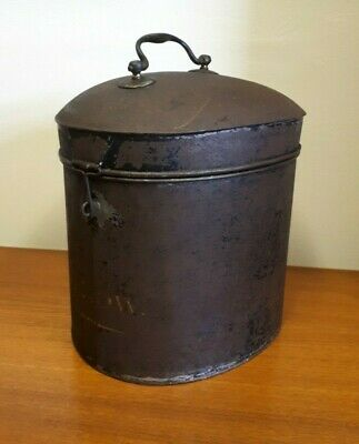 Vintage Decorative Hat Box Tin P.Low Egg Shaped Perfectly Worn Edwardian Style