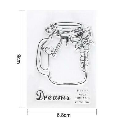 2pc Wish Bottle DIY Transparent Silicone Clear Stamp Cling Seal Scrapbook-Emboss