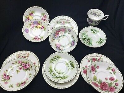 Royal Albert Bone China saucers & Side Plates Flower Of The Month Series Various