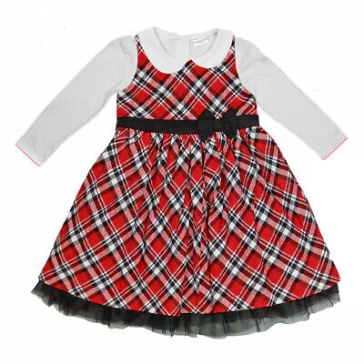 Baby Girls Red Black Check Tartan Bow Pinafore Dress + Blouse Cotton 12-36M