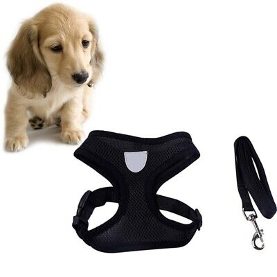 Adjustable Breathable Mesh Band Dog Harness Leads Pet Puppy Leash Vest 3 Sizes
