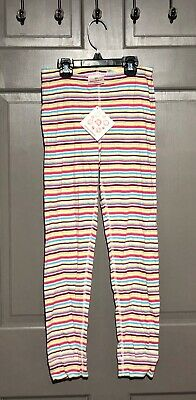 Hanna Andersson Pink/Green/Purple Striped Leggings - Size 130/7-10 - NWT