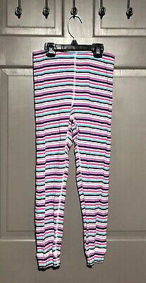 Hanna Andersson Pink/Purple/Blue Striped Leggings - Size 130/7-10 years