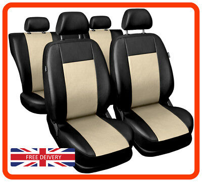 OUTLET #58 Universal Leatherette car seat covers Eco-leather black/beige