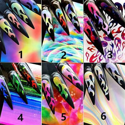 Art Stickers DIY Manicure Holographic Flame Hollow Fire Nail Sticker Thin Laser