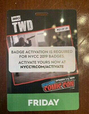 (2)NYCC New York Comic Con 2019 Friday Pass Badge Ticket 10/4/2019 Fan Verified