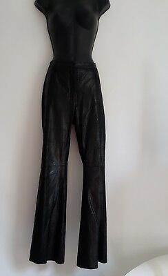 INC Genuine Leather Pants Size 10 Womens Black Reptile Crocodile Alligator Lined