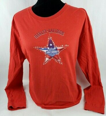 Harley Davidson Womens T-shirt Sz XL Zepka Johnstown PA Red Long Sleeve Tee **