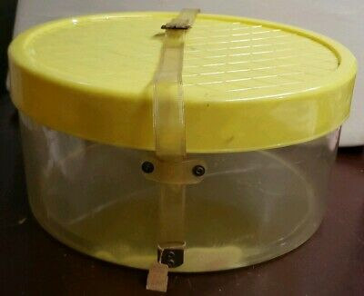 Hat Box Oval Vintage Acrylic Clear Yellow Quilted Top Rainbow Henry Hanger   cp