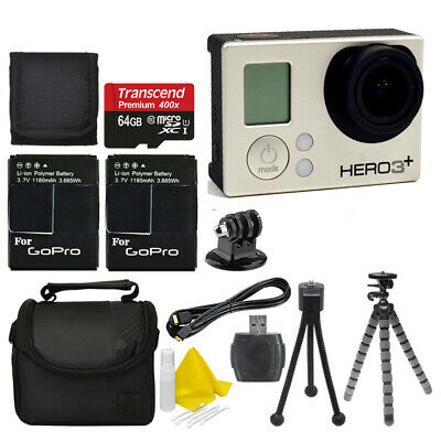 GoPro HD Hero3+ Plus Silver Edition HD Camcorder Camera +2 Battery +64GB Top Kit