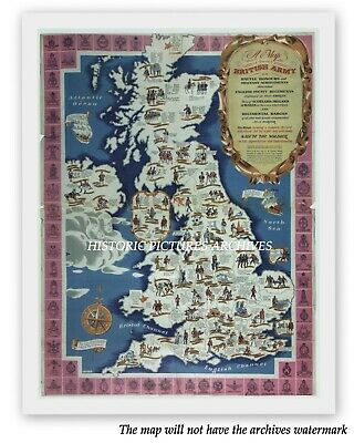 British Army Hardback Picture Map Showing World War 11 Military Achievements