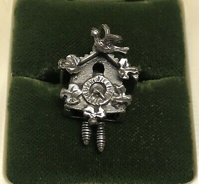 Vintage BEAU STERLING CUCKOO CLOCK PENDANT CHARM-New On Card-Estate Colllection