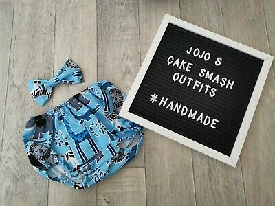 Baby Boys 1st Birthday Cake Smash Outfit/ Prop. Safari, animals, blue and grey.