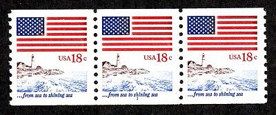 US 1891 US Flag 1981 - Plate Number Coil #1 Strip of Three - Mint NH OG VF-XF