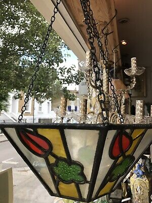 Vintage Art Deco 1930's Stained Glass Ceiling Square Dish 3 Chain Ceiling Light