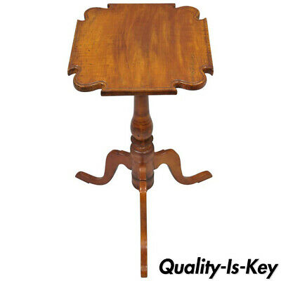18th Century Cherry Candle Stand Tea Table Tripod Pedestal Scallop Carved Top