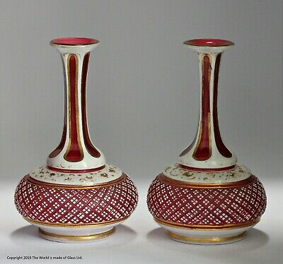 Victorian pair of small Bohemian white cut-to-ruby vases