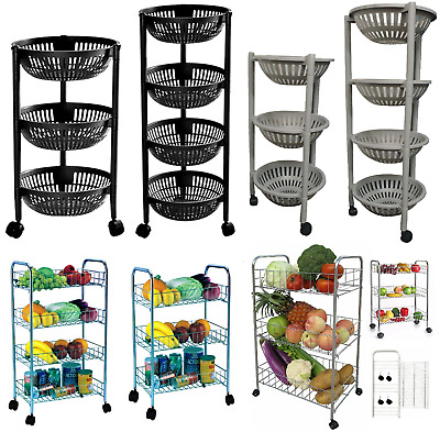 3 & 4 Tier Fruit Vegetables Trolley Kitchen Food Storage Rack Stand With Wheels
