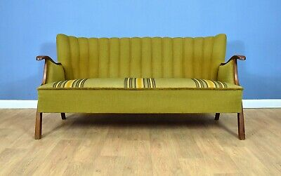 Mid Century Retro Vintage Danish Green Striped Wool 2.5 Seat Sofa Settee 1950s