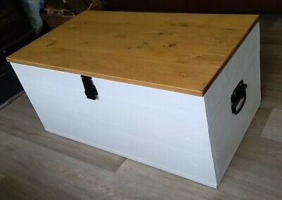 Reclaimed Painted Solid Pine Blanket Box Storage Chest Coffee Table