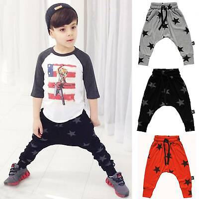 Kids Baby Boys Sweatpants Cotton Long Trousers Harem Pants Sport Joggers Bottoms