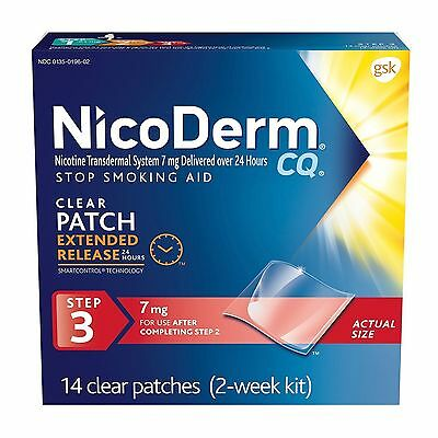 (New) NicoDerm CQ Nicotine Clear Patch, Step 3, 7 mg, 14 Clear Patches