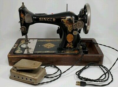 Singer Electric Portable Sewing Machine with Wooden Case Tested Working 1935