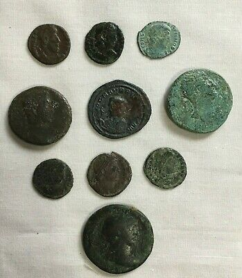 Ancient Roman Coins 1st - 4th Century Lot of 10