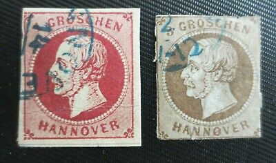 Germany Hanover 1859-61 SC # 19 & 23 UH Imperforate Stamps from Quality Album