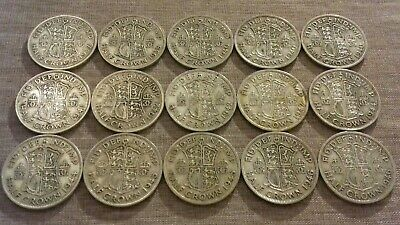 Pre 1947 King George VI Silver Half Crowns. (×15 Coins). Lot #12