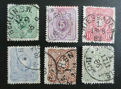 Germany 1880-83 SC #37-42 UH  Stamps from Quality Album- nice cancels