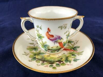 Fine Antique Chelsea/ Derby Porcelain Hand Painted Chocolate Cup And Saucer.