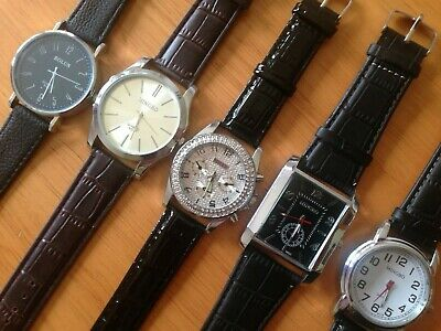 Job Lot Mens Watches 5 New. With Leather Strap. Working
