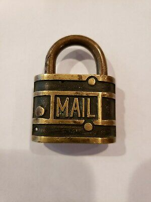 Vintage US Post Office RFD MAIL BRASS LOCK. No Key, Nice Condition, Great Patina