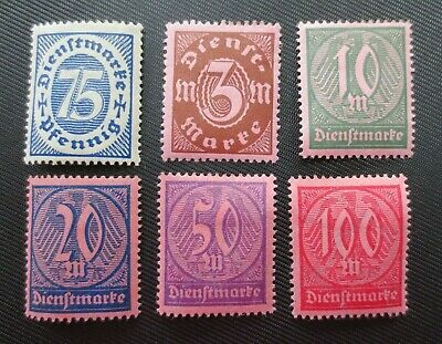 Germany 1922-23 SC #O14, O16-17 & O19-21 MH Official Stamps from Quality Album