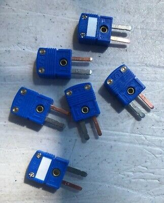 Qty: 6 x T type thermocouple male mini connectors, plug, flat pins, blue -CO -CP