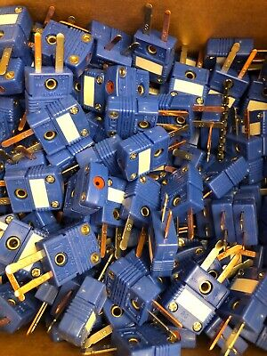 100 x T type thermocouple male mini connectors, plug, flat pins, blue -CO -CP