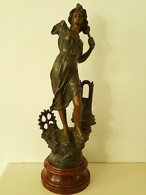 """Antique French """"Le Telephone"""" Technology Spelter Figurine On Wooden Base Stand"""