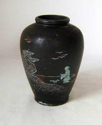 Antique Japanese Shibayama Vase: Lacquer & Pearl Inlay on Metal Base: 12 cm high