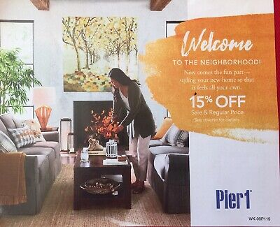 Pier 1 Imports 15% off couponn includes sale & regular Price Expires 10/31/2019