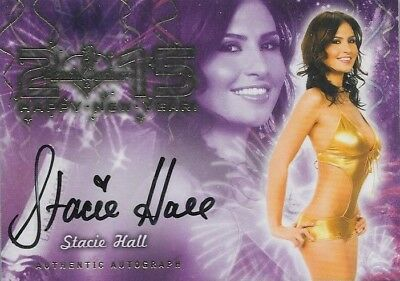2015 Benchwarmer Happy New Year Stacie Hall Autograph Signature