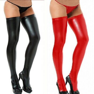 Sexy Women Cosplay Spandex Long Latex Rubber Stockings Thigh High Tights Hosiery