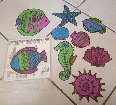 Rickie Tickie Stickies~9 Vtg 1969 Rare Groovy FISHES Stickers