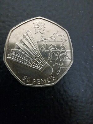 Olympic 50p. London 2012. BADMINTON. Fifty pence. Circulated.