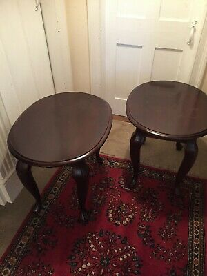 Pair of mahogany antique side tables / lamp tables