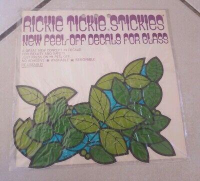 Rickie Tickie Stickies~ Peel off Decals for glass Vtg 1970 Rare Groovy Leaves