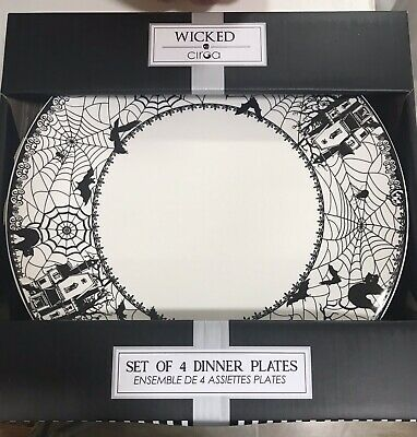 NEW Ciroa Wicked Haunted House Spider Halloween Dinner Plates 10.5 in.