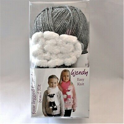 Wendy Four Legged Friends Sharon Sheep Grey Scarf Kit